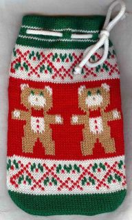 Machine Knit Christmas Draw String Gift Bag, Bears, small items or