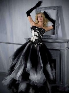 Black White Wedding Prom Dress Quinceanera Gown Party Evening Dresses