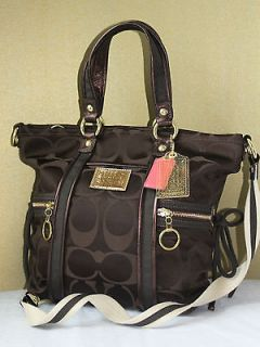 coach poppy brown lurex signature hobo tote bag purse nwt