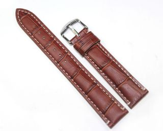 Latest Brown with white line Genuine Leather Watchband Strap TG104B_1
