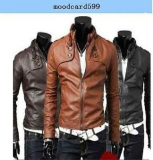 New Fashion Men boys Slim Leisure PU Leather Short Jacket Coat