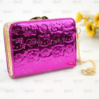Hello Kitty Metallic Magenta Wallet Purse with Kisslock Coins Bag #823