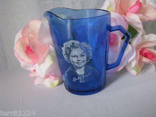 viintage cobalt blue shirley temple cream milk pitcher time left