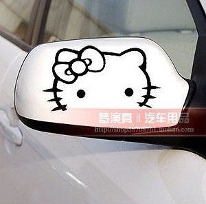 new 2x hello kitty car rear view mirror decal stickers