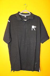 New Rocawear R LOGO mens cotton polo shirt black L $38 white logo
