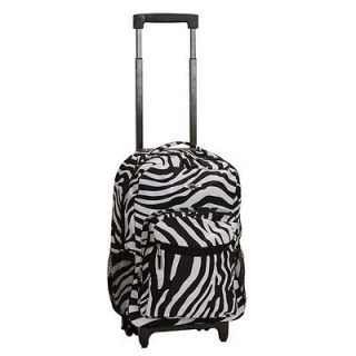 rockland 17 inch rolling carry on backpack zebra