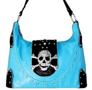 WESTERN BLING RHINESTONE SKULL CROSS BONE PURSE HANDBAG BLUE P#CX