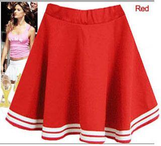 hit korea style mini red skirt cheer girl cheerleader