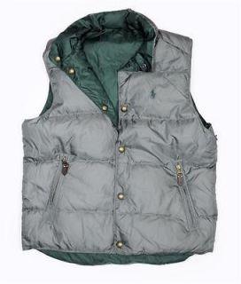 NWT Polo Ralph Lauren Mens Reversible DOWN FEATHER Vest Jacket Gray