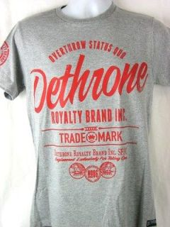 Dethrone Royalty Brand Overthrow Status Quo Grey T shirt New