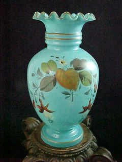 French Blue Opaline Hand Painted Enamel Floral Art Glass Vase