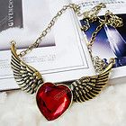 2012 Fashion Old Bronze Plated Stylish Red Rhinestone Heart Angle Wing