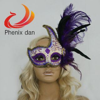 PURPLE FEATHER VENETIAN MASQUERADE FLOWER MASK MARDI GRAS CARNIVAL