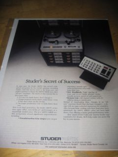 studer revox a80vu reel to reel tape recorder ad 1983