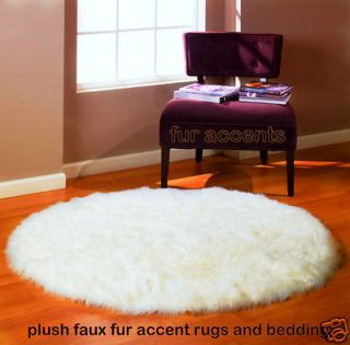 Newly listed 60 ROUND White Bear Skin Area Rug Faux Fur Accent Fake