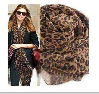 Long Animal Leopard Print Shawl Scarves Scarf Wrap Stole Pashmina H58