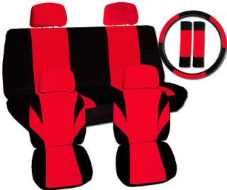 13pc set cool car seat covers blk/red +matching swc+sbc,NO AIRBAGS