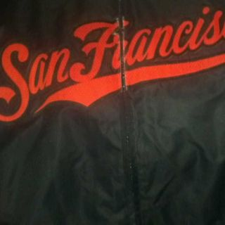 80s Starter Mens Black San Francisco Giants MLB Satin Jacket Sz M