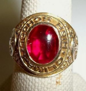 Climax High School 1993 Red Stone Ladies Class 10kt Gold Ring Size 7