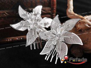 Pcs Handmade Rhinestone Flower Wedding Bridal Prom Hair Comb