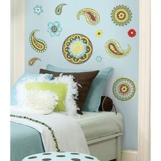 New Brown Green Red PAISLEY WALL DECALS Girls Room Stickers Bedroom