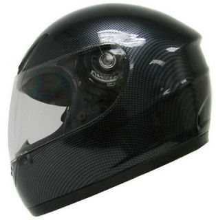 CARBON FIBER FULL FACE MOTORCYCLE SCOOTER STREET SPORT BIKE HELMET SZ