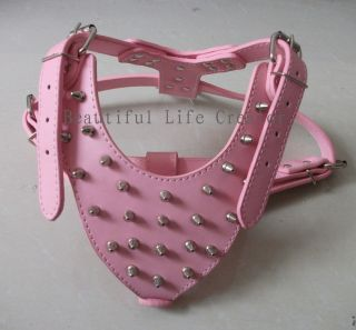 Spiked Studded Pink Leather Dog Harness for Large Dog terrier Pitbull