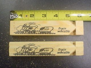 One Dozen 6 Wooden Toy Train Whistle New 12 Party Favor Prize Free