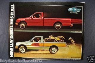 LUV Diesel Pickups Trucks Brochure Sheet 4WD Nice Original 82