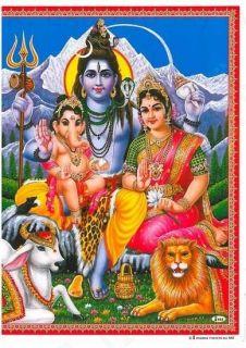 Shiva Family: Shiva, Parvati, & Ganesh   Color 11.25 X 8.75 Poster