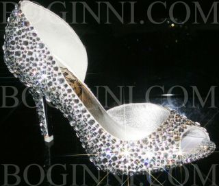 WOMENS MICHAELANGLO WHITE SATIN AND DIAMOND BRIDAL PROM DRESS SHOES