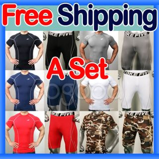 Men Compression short Shirt & Pants Set M~2XL sports base under layer