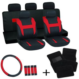 20pc Set Red Black Auto Car Seat Covers Wheel + Belt Pads +Head Rests