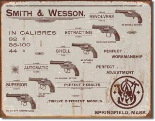 smith wesson revolvers metal tin sign vintage look time left