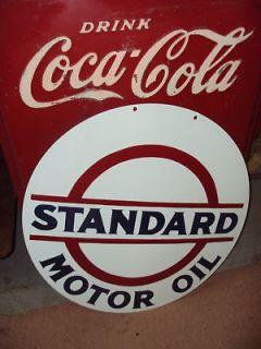 24 Heavy Standard Esso Motor Oil Gas 2 Sided Porcelain Sign