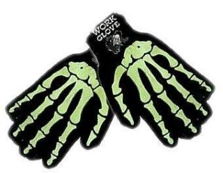 winter work gloves glow in dark skeleton bone gothic
