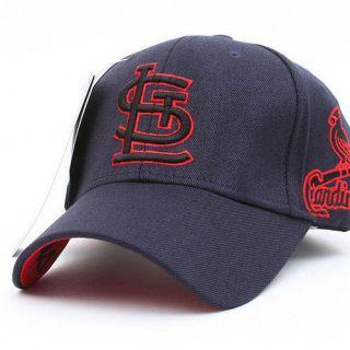 ST LOUIS CARDINALS Flex Fit Baseball Ball Cap Flexible Band Hat   Navy