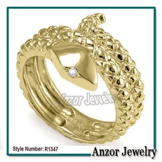 18k Solid Yellow Gold Snake Diamond Serpent Ring #R1347