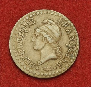 1799, France (1st Republic). Beautiful Copper Centime Coin. VF++