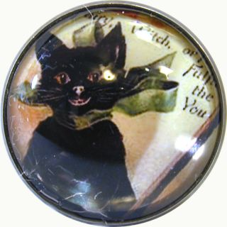 Halloween Crystal Dome Button Cute Vintage Black Cat HW 15 FREE US