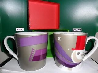 Starbucks 2011 Holiday Silver Mug. Snowman w/Purple Scarf & Red Hat