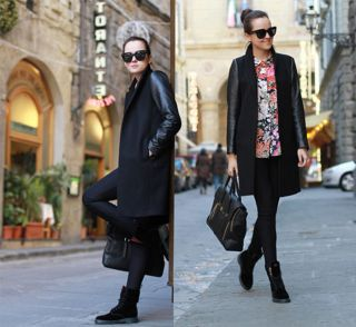 New Womens European Fashion Faux Leather Sleeve Mix Long Winter Trench