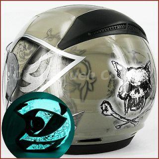 Skull Motorcycle Street Open Face Helmet Jet Double Shields DOT