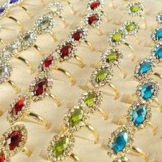 Lots of 20 PC Gold Plated Diamond Rhinestone Crystal Adj. Rings R220