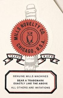 MILLS NOVELTY CO LOGO, SLOT MACHINE, COINOP, WATER SLIDE DECAL # DS