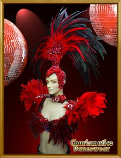 RED Drag Queen SAMBA RIO CARNIVAL Feather Headdress+shou​lder piece