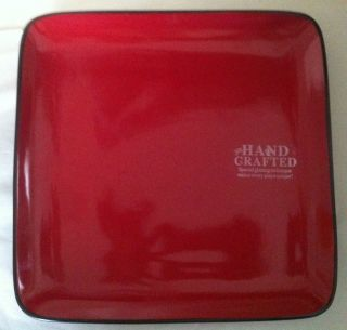nwt home trends rave red square dinner plate time left