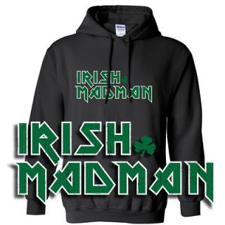 IRON MAIDEN HOODIE HOODED SWEATSHIRT SHIRT ST PATRICKS DAY BLACK