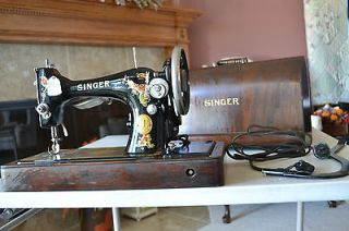 Antique 1924 Singer Sewing Machine, Portable, Knee Switch, Serial