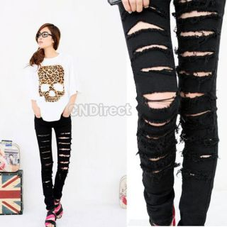 New Women Skinny Jeans Jeggings Trousers Black Cut out Punk Ripped